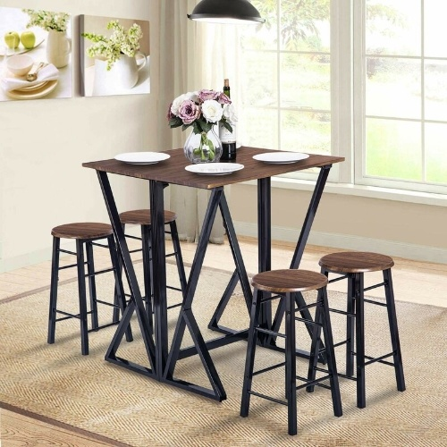 5 Piece Extendable Dining Table Set Counter Height Drop Leaf Table And Four Bar Stools China Extending Dining Table Wooden Extendable Dining Table Made In China Com