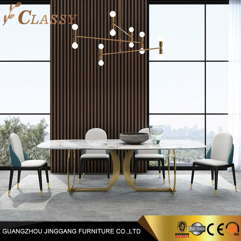 Contemporary Luxury Faux Marble Rectangular Dining Table Stainless Base In Gold China Dining Table Marble Table Made In China Com