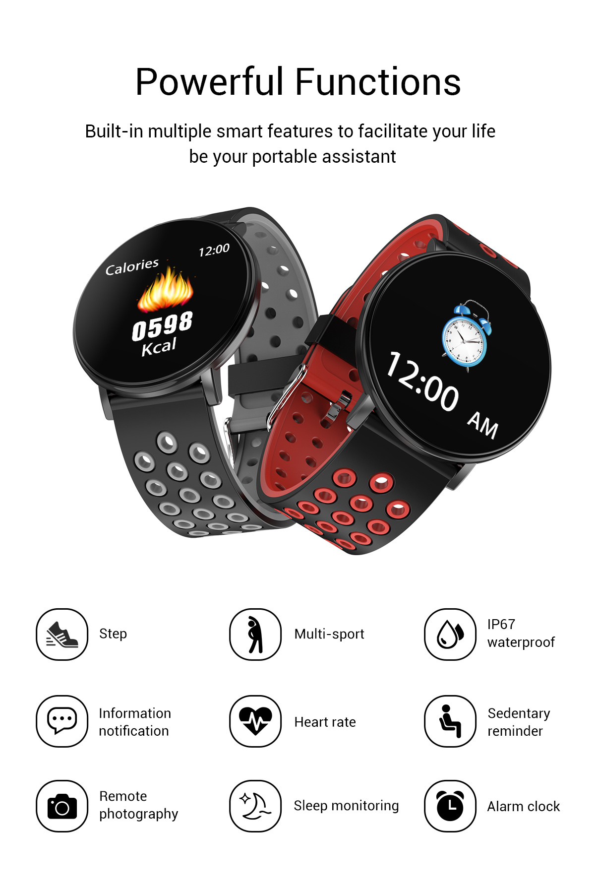 2020 New Sports Fitness Band Waterproof Smart Watch Support Heart Rate