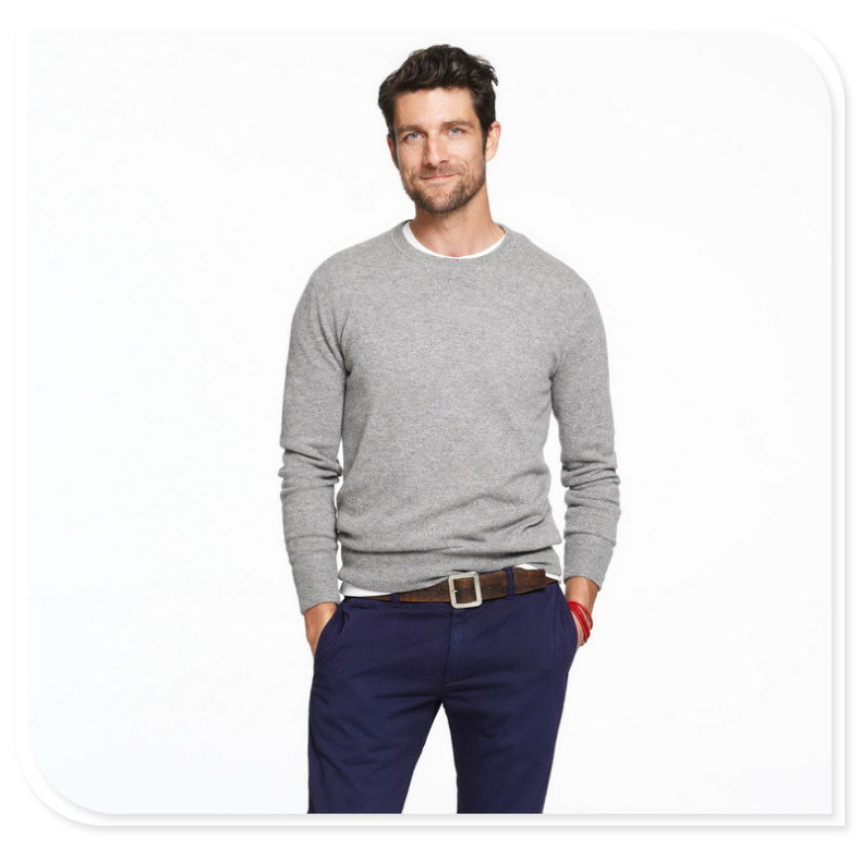 Los hombres Cashmere Sweater cuello redondo Long-Sleeved Pure ...