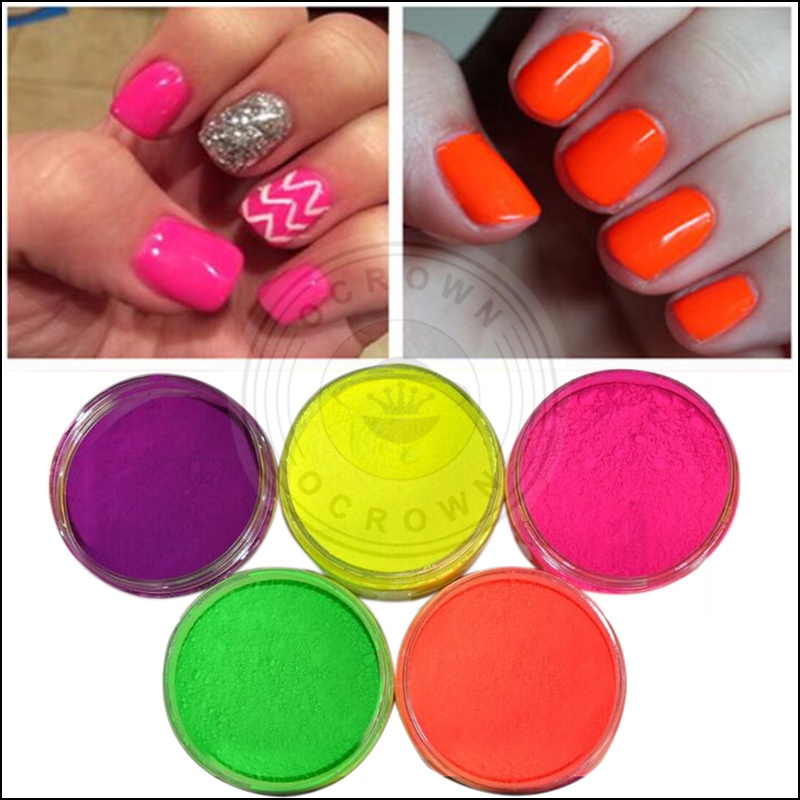 Fluorescent Neon Ombre Gradient Acrylic Pigment Powder for Nail Art ...