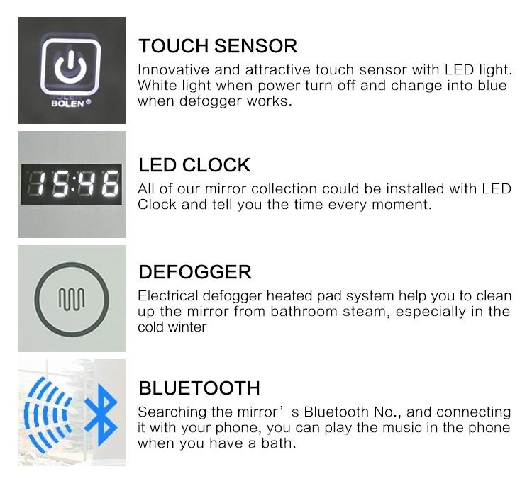 Illuminated Smart LED Light Bathroom Mirror with Lights /Digital Clock/Bluetooth/Defogger/Touch Screen