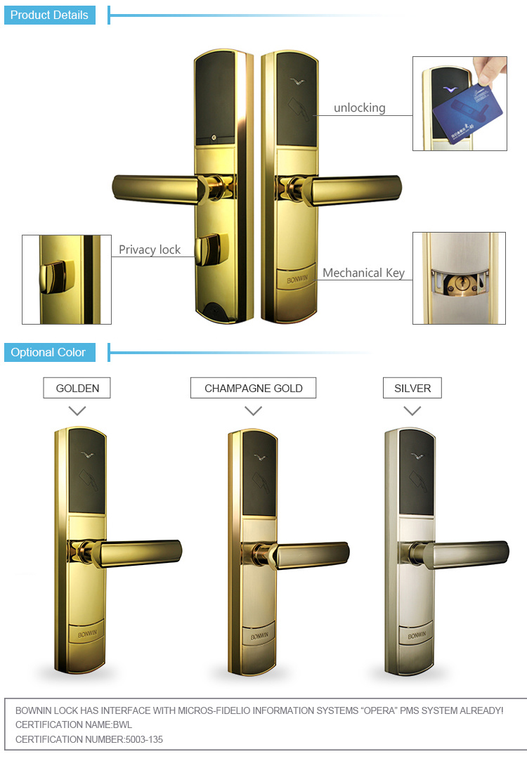 High Quality Electrial Intelligence Contactless Door Lock for Hotel