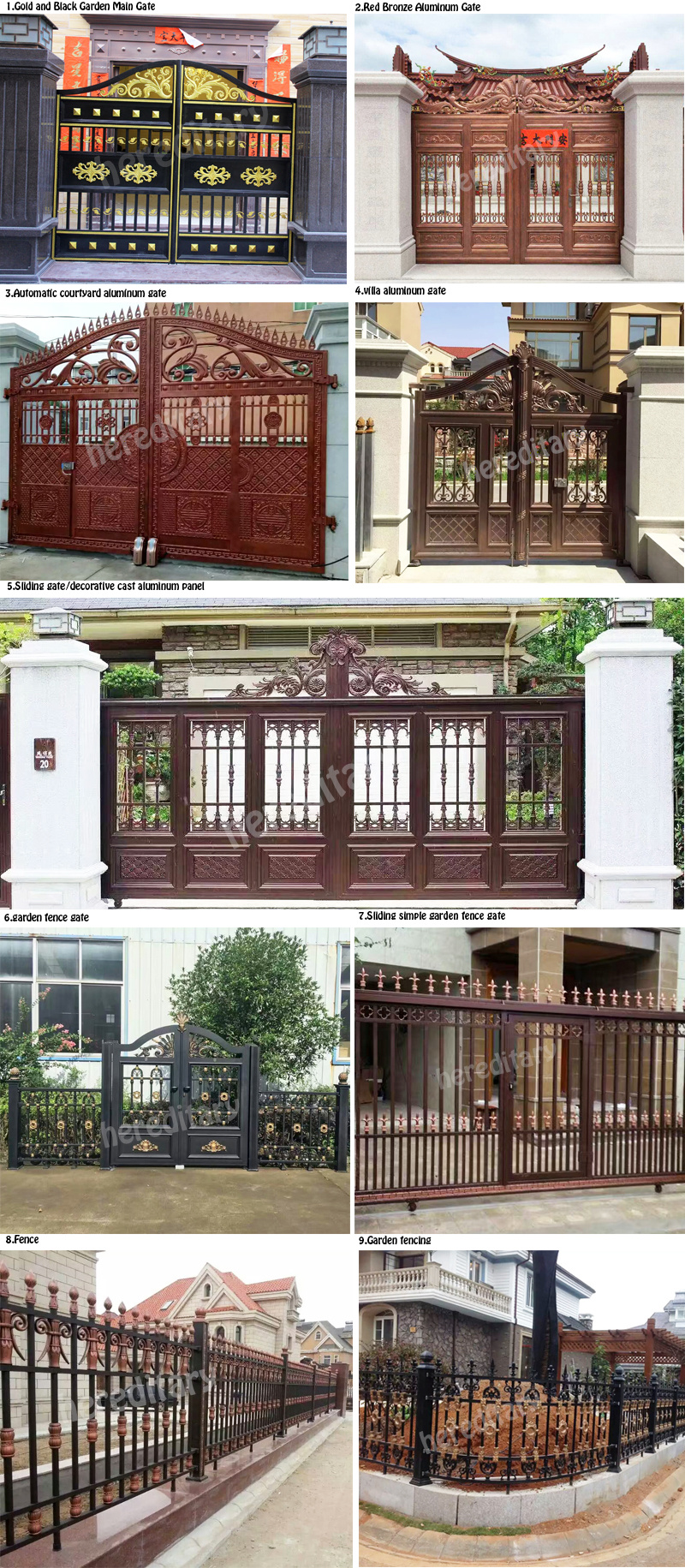 Modern Gray Color Aluminum Main Entrance Gate Design With Automatic