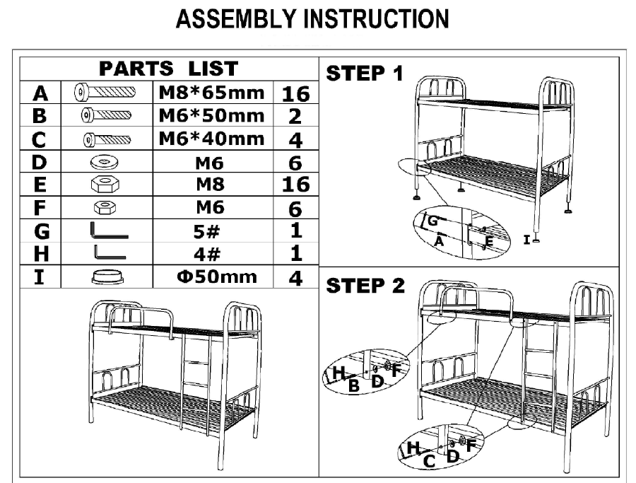 School Army Camp Hotel Metal Bunk Bed Double Bed China Bunk Bed
