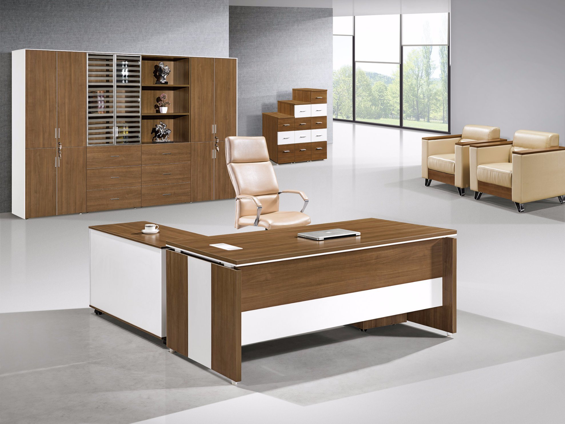 desk west modern pin workspace executive elm products