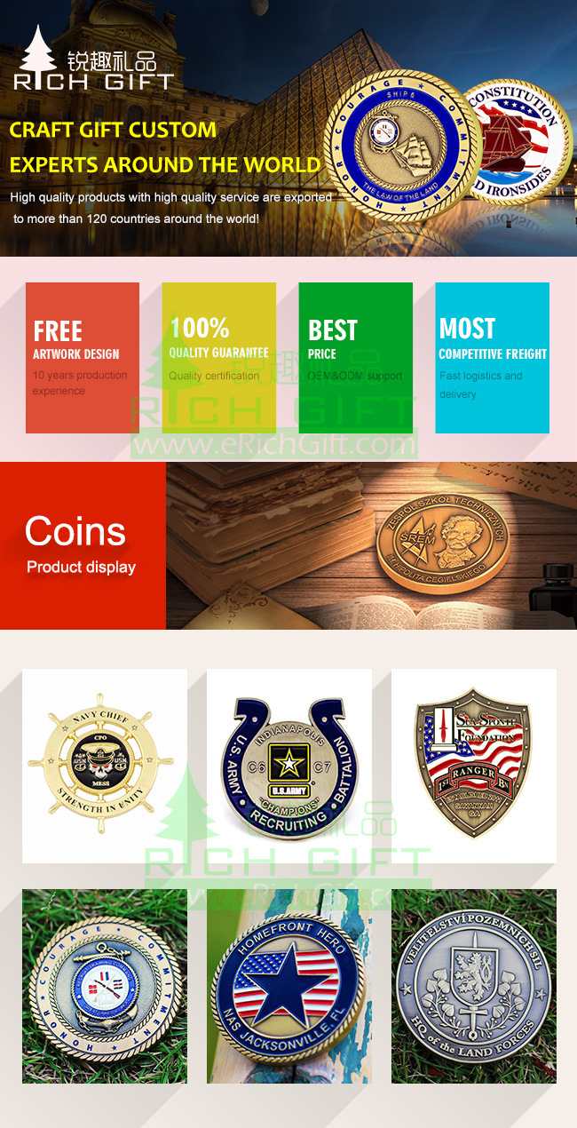 China Manufacturer Maker Custom Metal/Antique/Souvenir/Gold/Military/Silver Police Challenge Coin with Logo No Minimum
