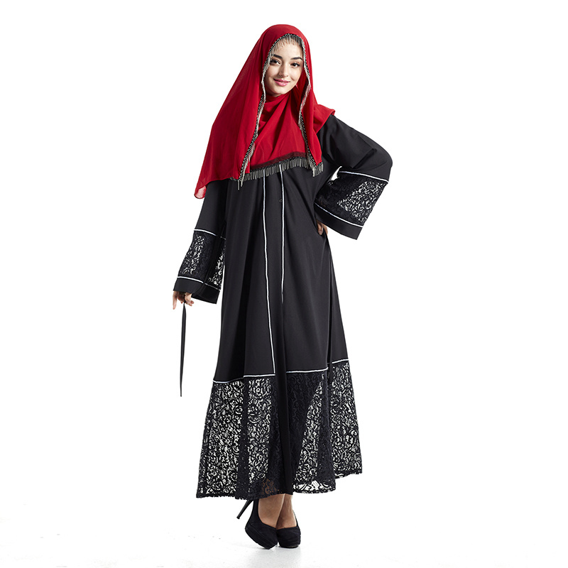 2f04a4dc806 Black Lace Dress Maxi Dress Muslims Burkas Dubai Abaya Jilbab Turkish Muslim  Women Wear Robe Kaftan - China Muslim Dress