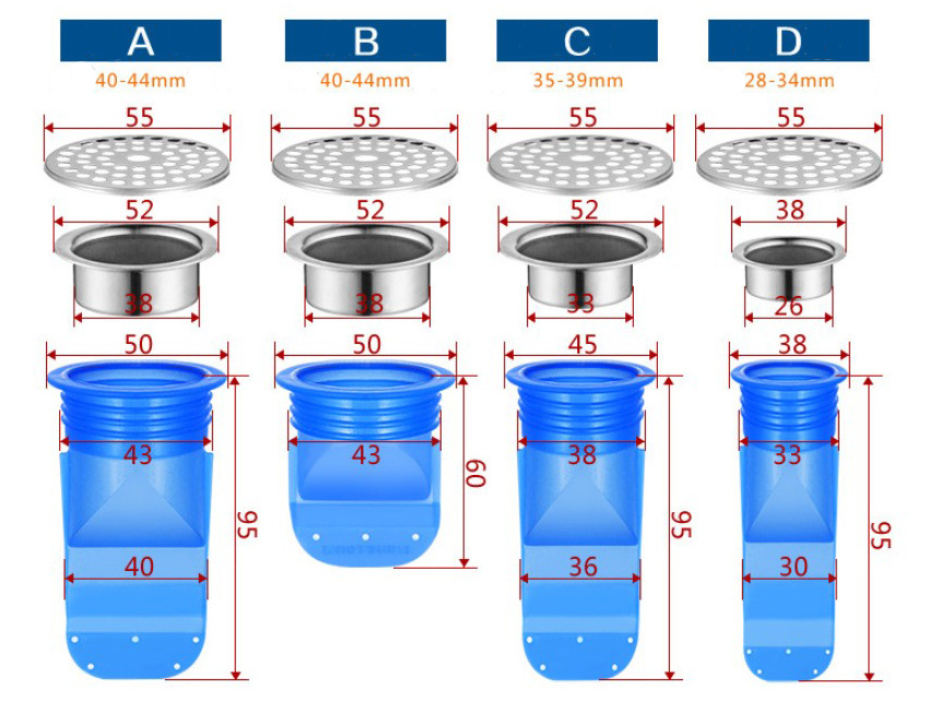 New Floor Drain Deodorant Sealing Anti-odor Silicone Core Sewer Pipe Seal Ring