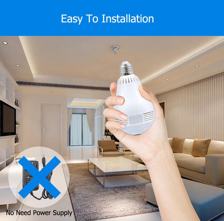 HD 960p 1080P V380 WiFi IP Camera Light Bulb Surveillance 360 Degree Panoramic Fisheye CCTV Camera