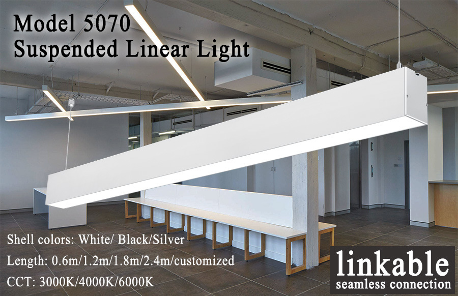 Connectable Economy Type Aluminum Profile 5070 LED Linear Pendant Light