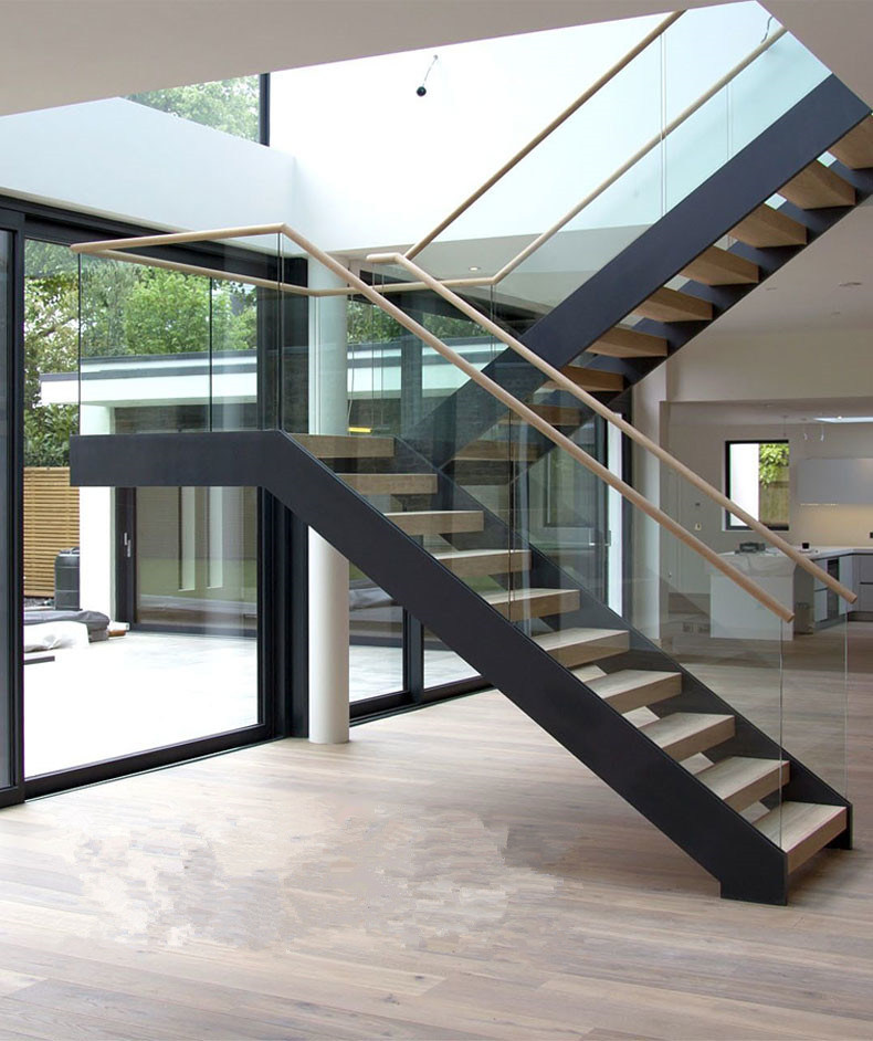 Made In China Modern Design Glass Balustrade Steel Wood Staircase