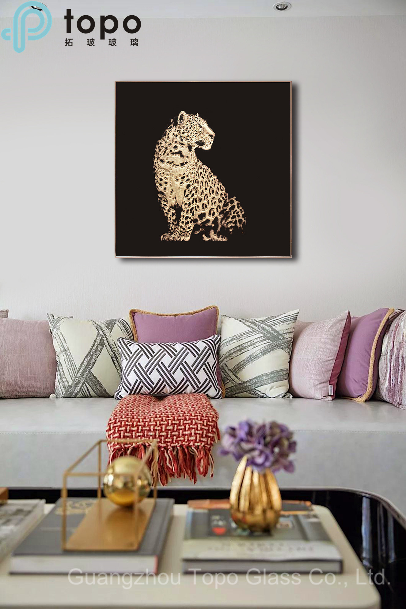 Glass Picture Home Decor Glass Wall Painting with Leopard MR ...