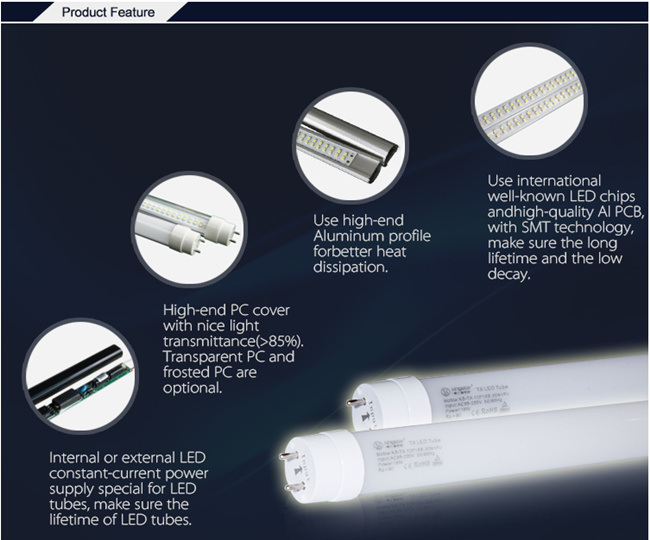 SMD2835 4FT 120lm/W G13 Aluminum T8 9W/18W/20W/25W LED Tube