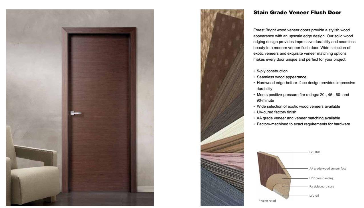 Smart expo walnut veneer solid core wooden door for for Interior flush wood doors