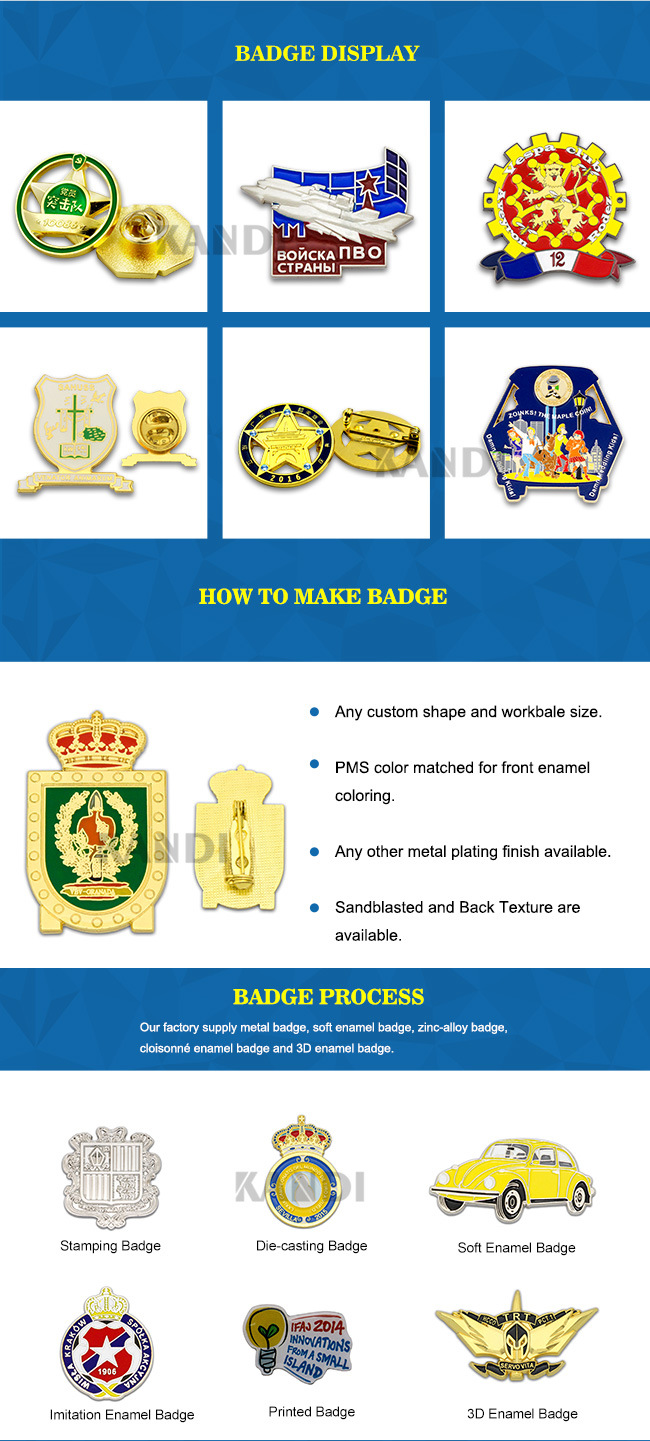 Custom Logo Fashion Metal Craft Brass Soft/Hard Enamel Badge Gold Silver Emblem Police Security Lions Flag Military Long Needle Lapel Pin for Promotion Gifts