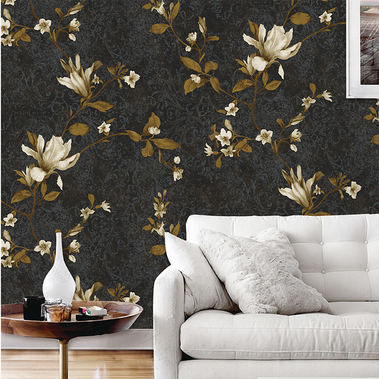 Interior Wall Decoration PVC Waterproof Floral Design Wallpaper