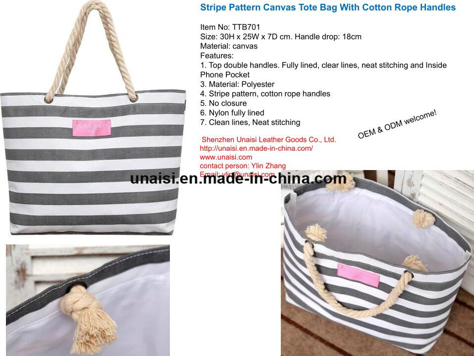 f065f07f2312 [Hot Item] Stripe Canvas Tote Shoulder Beach Bag with Cotton Rope Handles