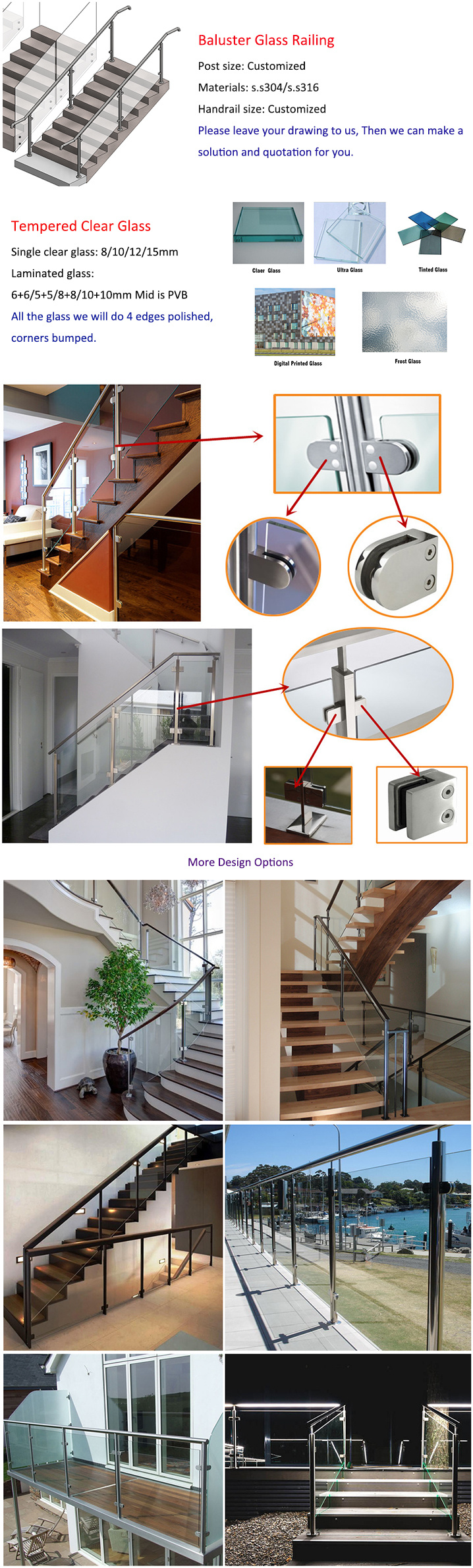 Modern House Staircase Stainless Steel Glass Railing Design Glass