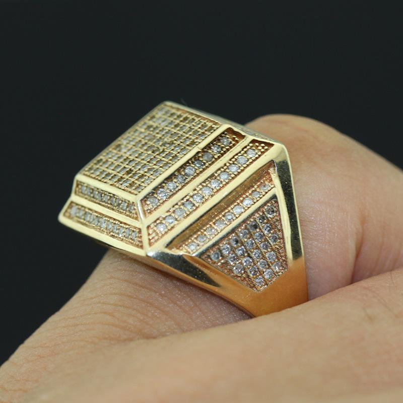 a0b4a2927fd7 La moda para hombres joyas de lujo en color oro 18k Anillo con piedra blanca