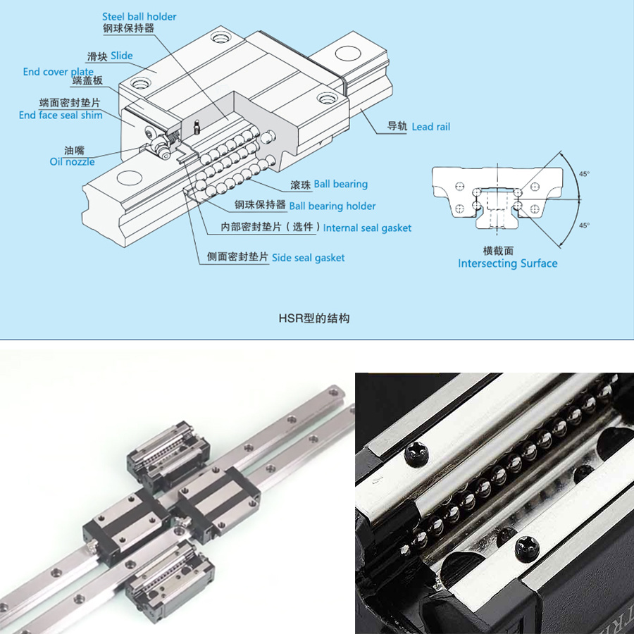 Precision Linear Guideway Sliver and Black Anti-Friction Interchangeable Linear Guide Steel Rail (HSR20)