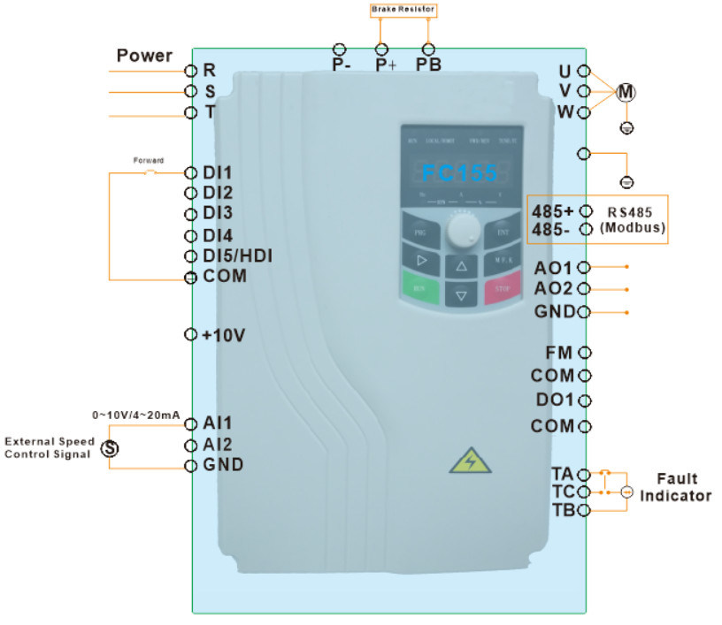 Fc155 series china factory frequency inverter 04kw500kw china 4 typical wiring diagram swarovskicordoba Gallery