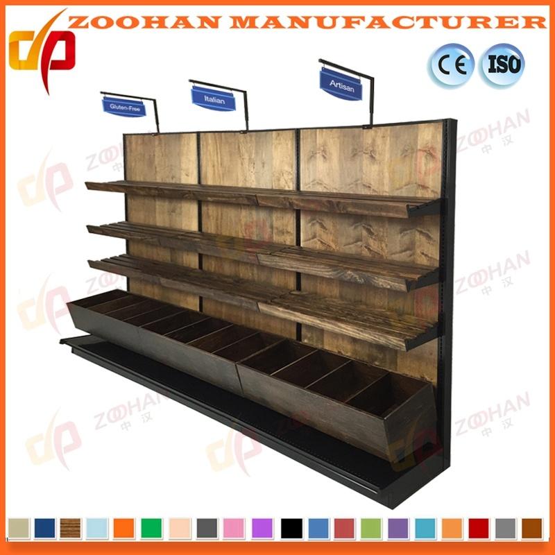 Supermercado Tienda de madera Mostrar Bastidor de acero Estantes ...
