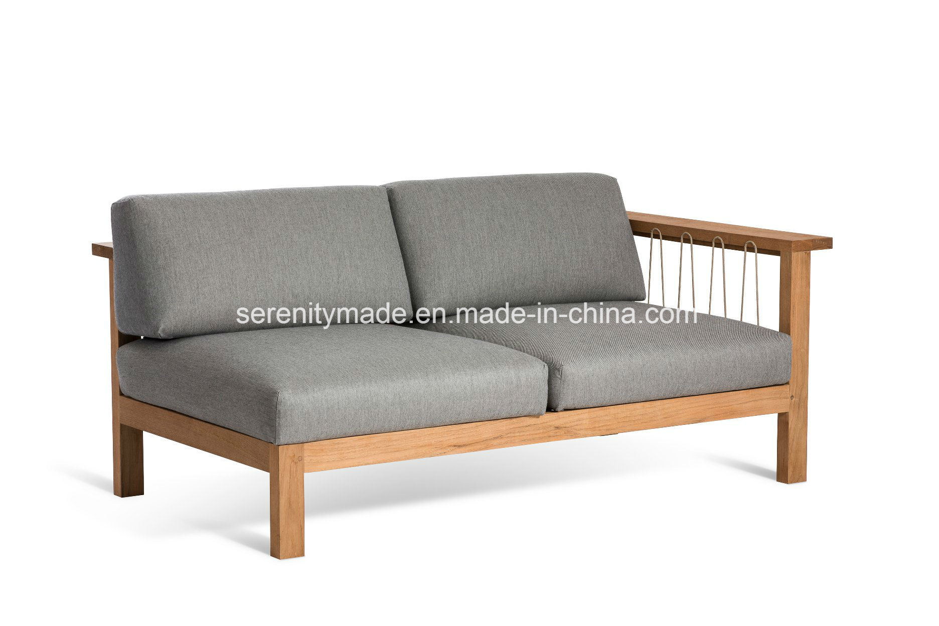 Hot Item American Style Two Seater Leisure Wooden Frame Fabric Upholstered Corner Sofa