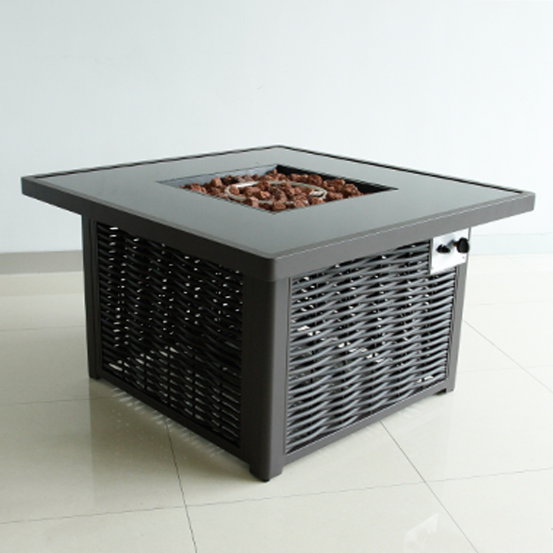 Multifunctional Bbq Grilling Table, Grey Rattan Garden Furniture With Fire Pit Table