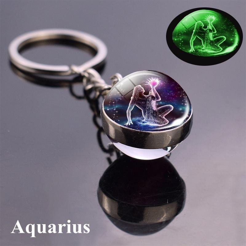 12 Constellation Zodiac Sign Key Rings Women Men Round Glass Pendant Keychains