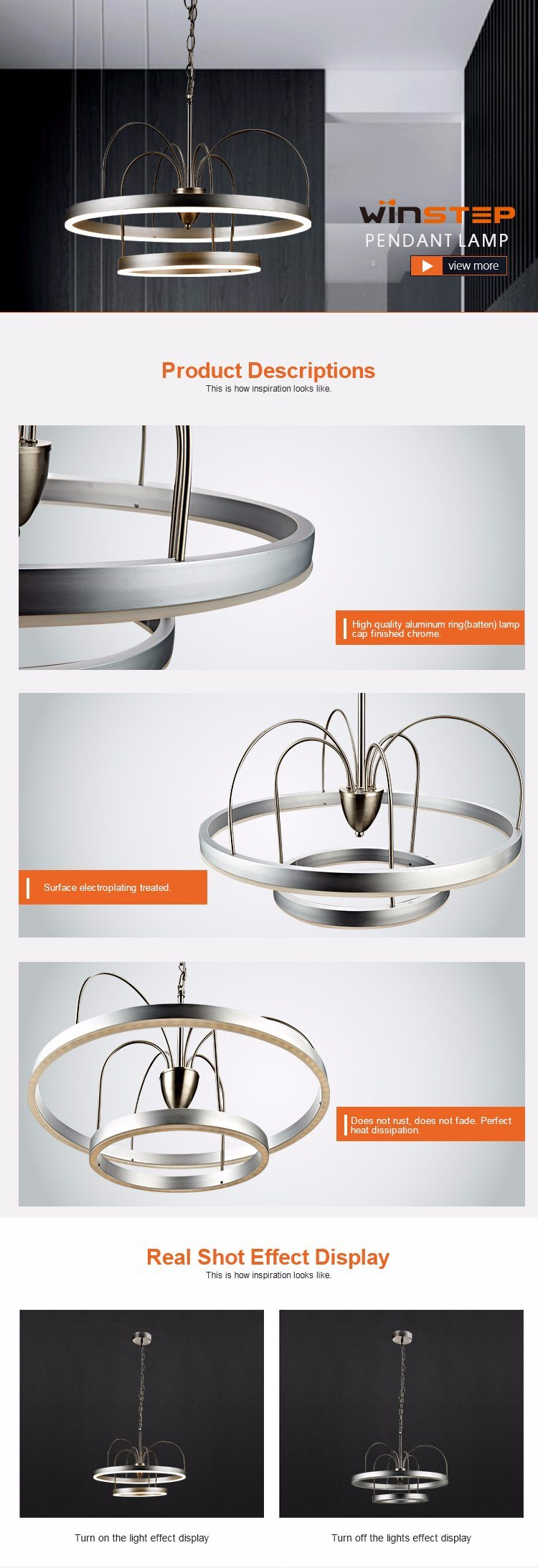 Wholesale 3000k Aluminum Acrylic Lighting Double Ring LED Pendant Lamp