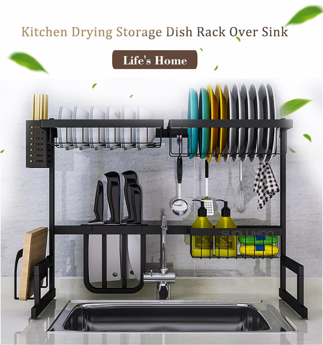 65cm Black Metal Stainless Steel Kitchen Dish Sink Rack Storage Stand For Kitchen Over Sink China Kitchen Stand And Dish Stand Price Made In China Com