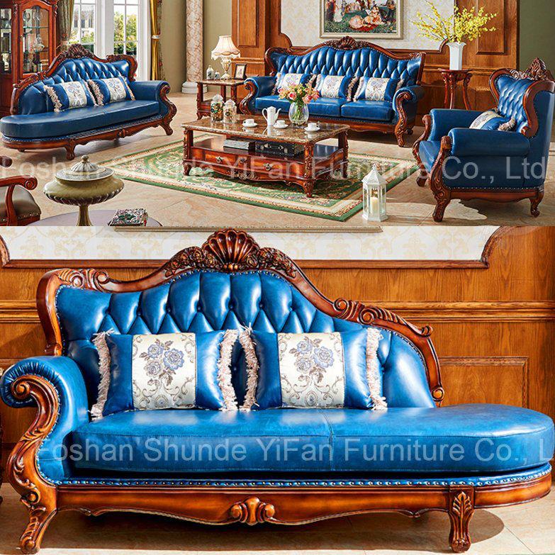 Classic sofá de cuero con tumbona para el hogar muebles (508A ...
