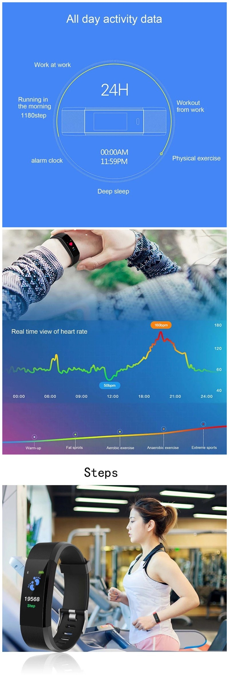 [Hot Item] New Arrival ID115 Plus Smart Band Bracelet Multi-Sports Activity  Tracker Rate Monitor