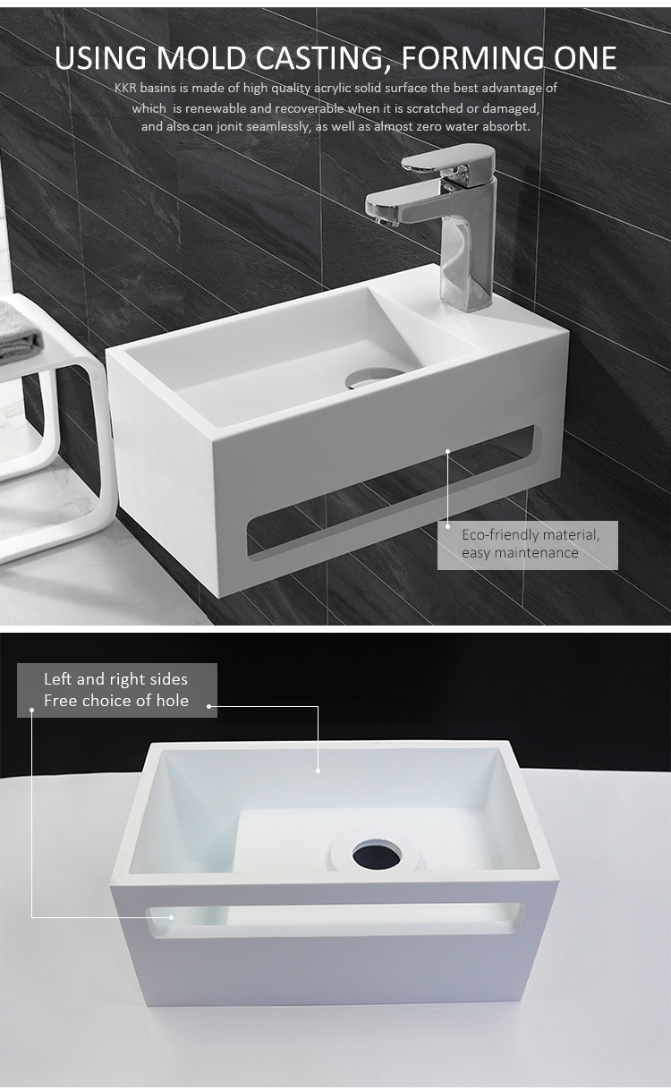 Bathroom Artificial Stone Solid Surface Wall Hung Wash Basin190611