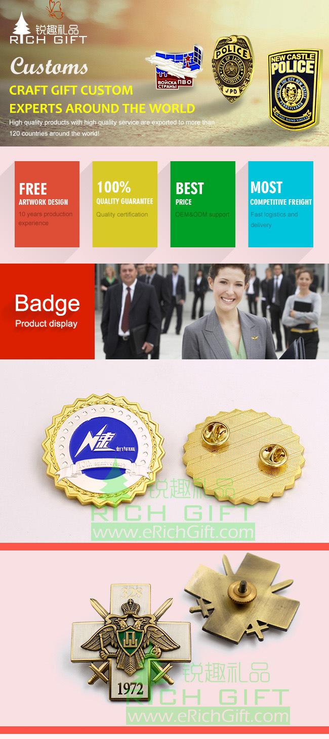 Manufacturer Custom Metal Enamel Emblem/Army/Military/Souvenir/Police Badge/Car Logo Lapel Pin No Minimum