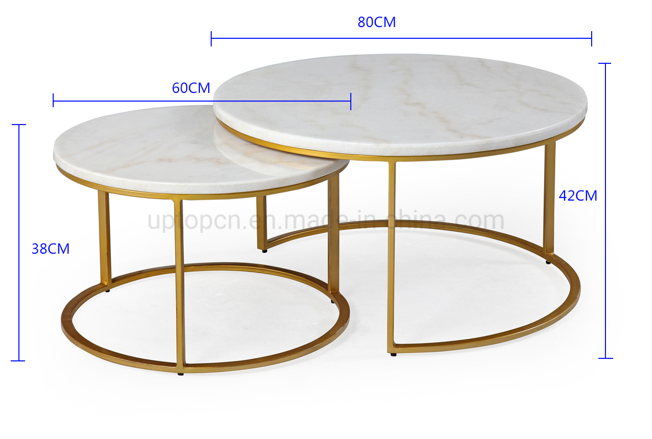 Sp Gt116 Modern Round White Marble Brass Nesting Coffee Tables China Nesting Coffee Tables Coffee Table Made In China Com
