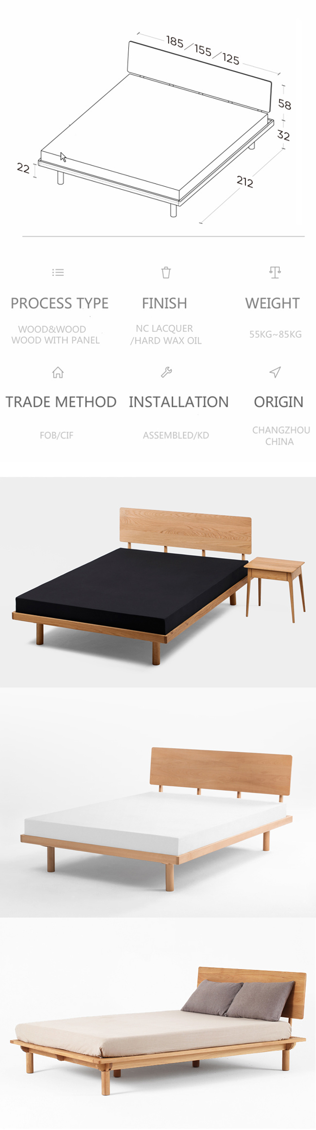 La moderna sala de madera de roble sólido marco de la cama – La ...
