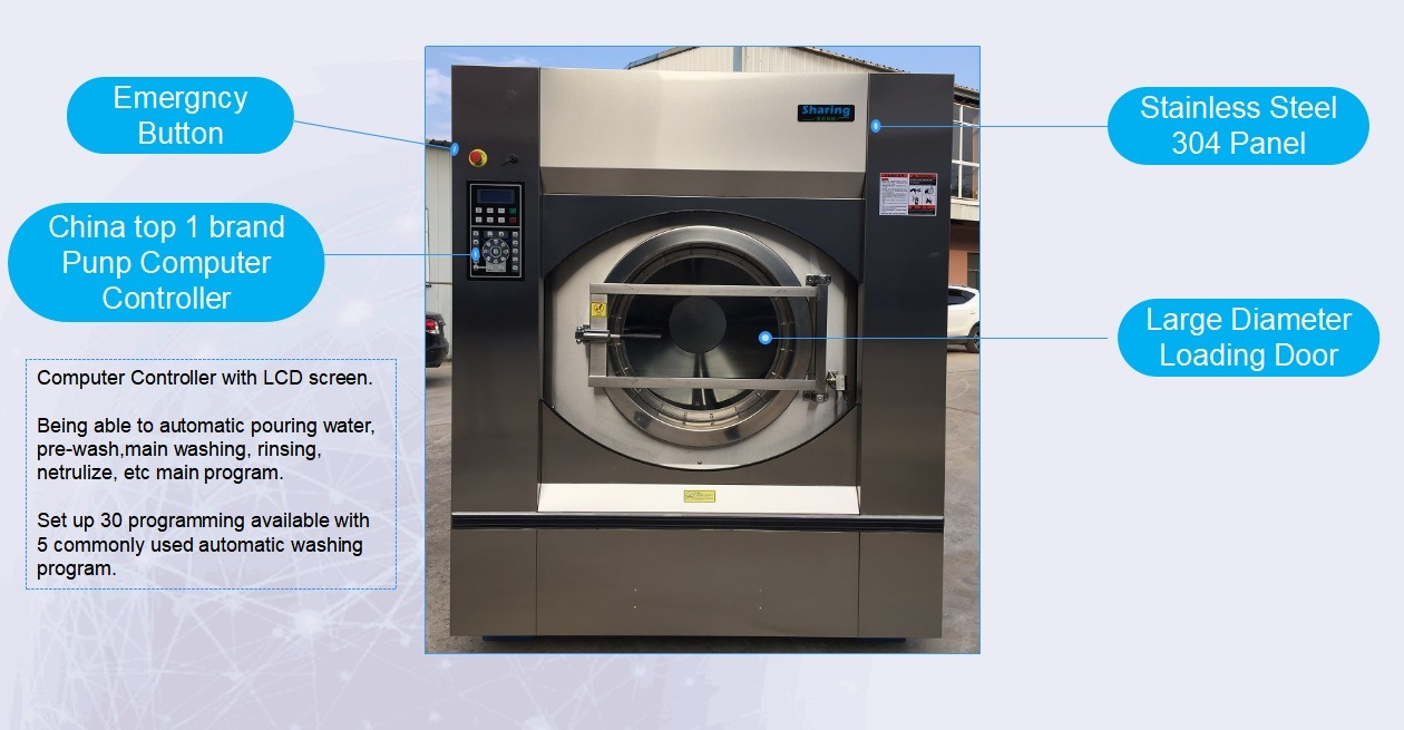 50kg 100kg Hotel Automatic Industrial Laundry Washing Machine Heavy Duty Washer Extractor
