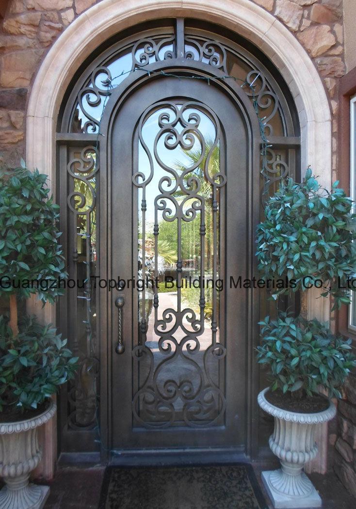 Arch haut double grille en fer forg fer porte d 39 entr e de porte arch haut double grille en fer for Porte entree solde