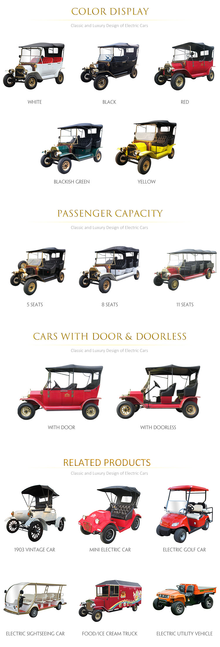 [Hot Item] 48V Battery Power Golf Cart Vintage Sightseeing Bus with 30%  Climbing Ability