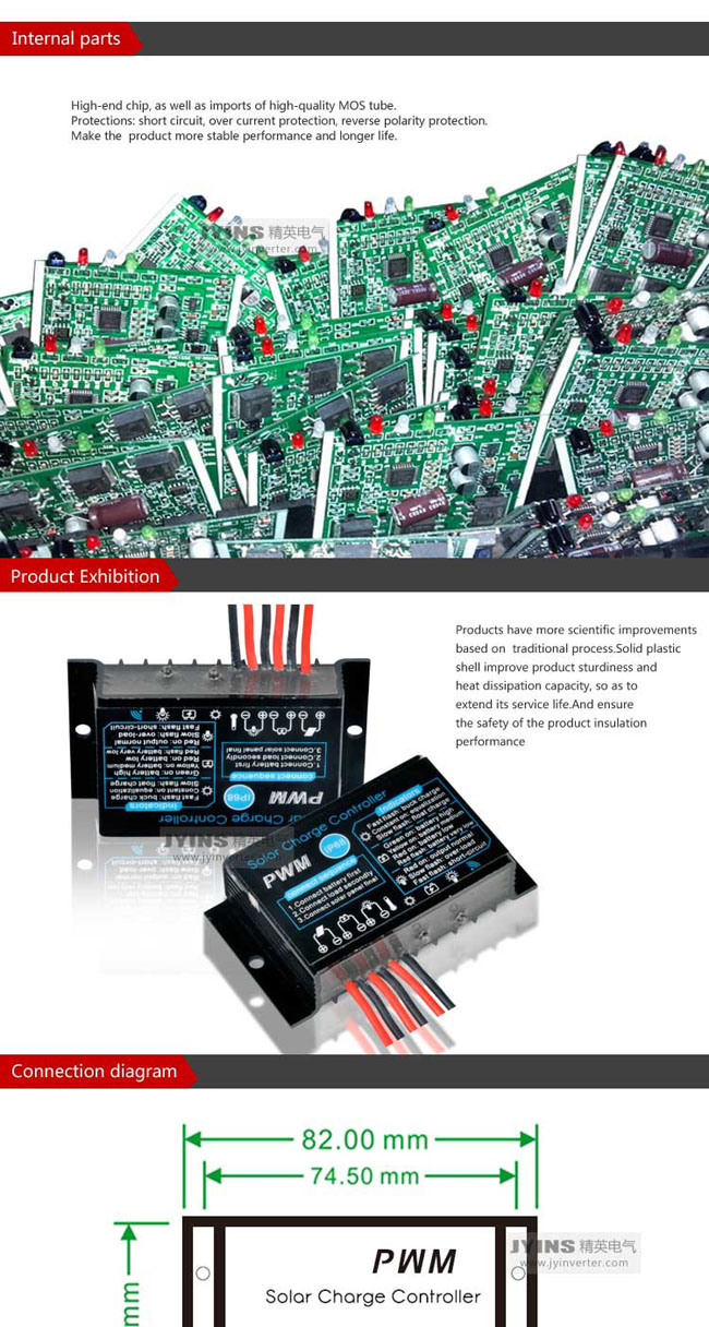 Jyins 12v 24v 5a 10a 20a Automatic Pwm Solar Charge Controller Wiring Diagram Product Description Technical Parameters