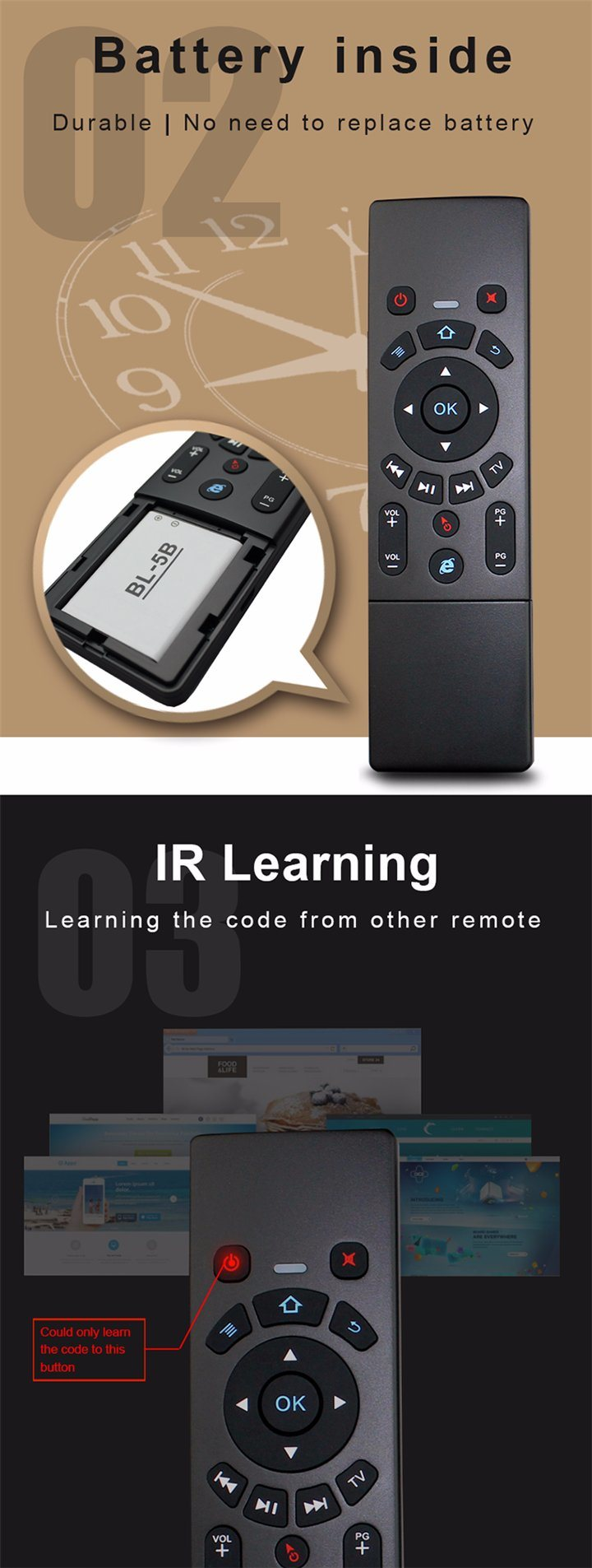 The Keyboard Shenzhen Air Mouse T6 Standard Mini Air Mouse Remote for  Android TV Box