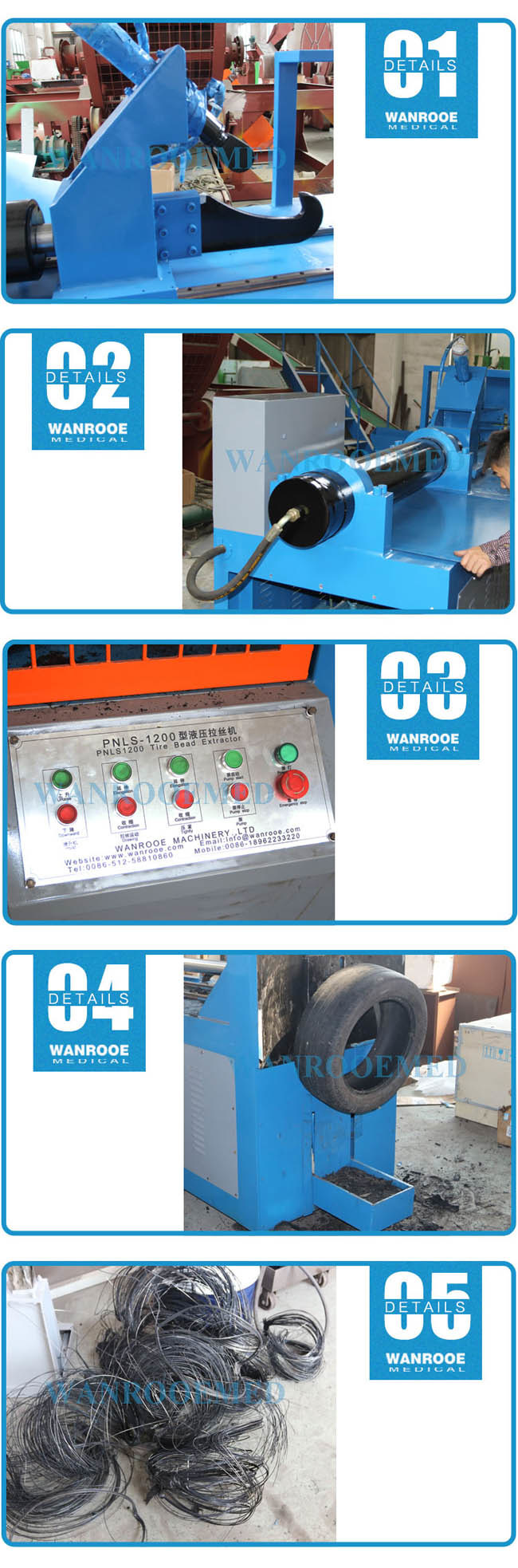 Plastic Machinery Used Tire Recycling Tire Wire Drawing Machine ...