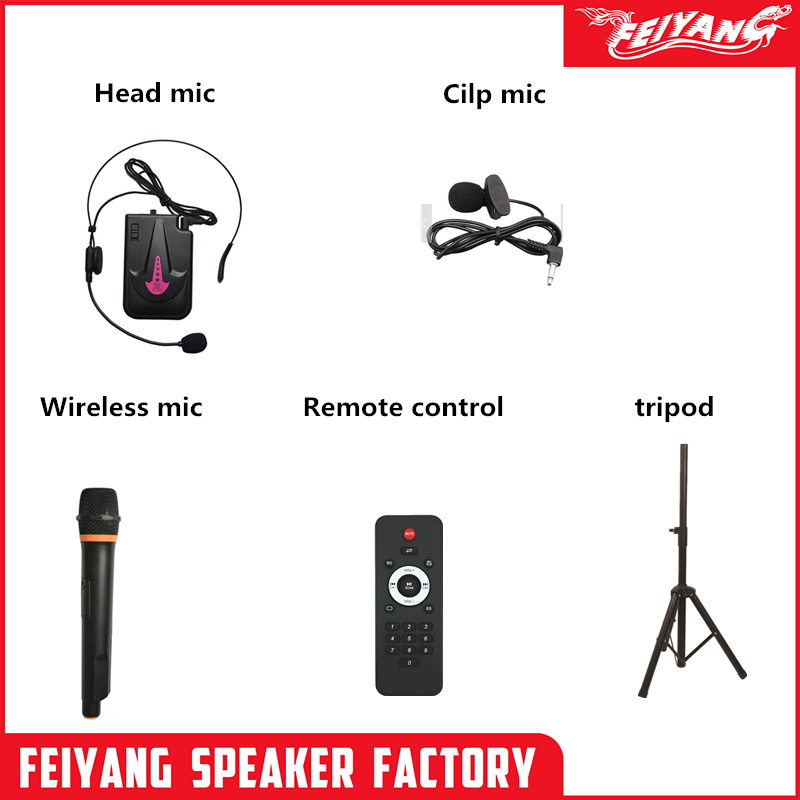 Feiyang Bluetooth Trolley Speaker with Built-in Rechargeable Battery  Microsd Card Slot & USB for Direct MP3 Playback, Aux Input, Microphone  Input