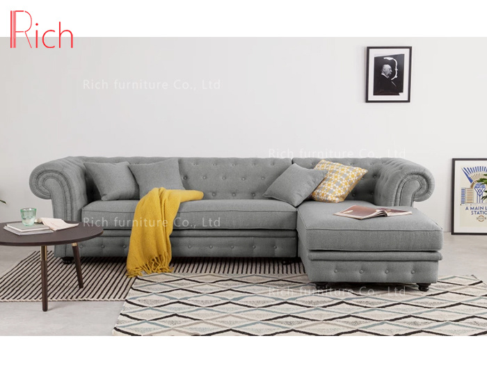 [Hot Item] New Design Sectional Couch L Shaped Fabric Corner Sofa