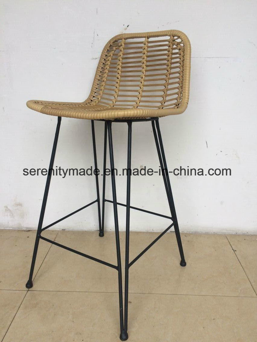 Astounding Hot Item Bar Furniture Rattan Outdoor High Bar Stool With Black Legs Cjindustries Chair Design For Home Cjindustriesco