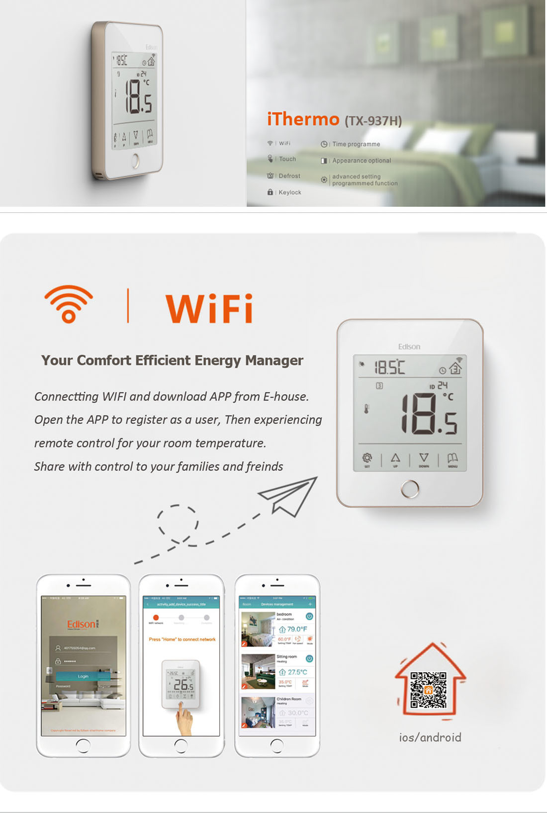 Wifi smart heating room thermostat for ios android tx 937ho w