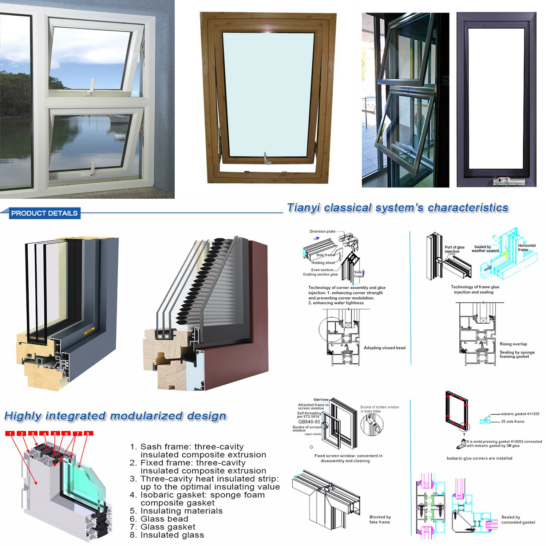 Thermal Break Wood Grain Aluminium Casement Window Grill Building Material  Screen Windows Designs