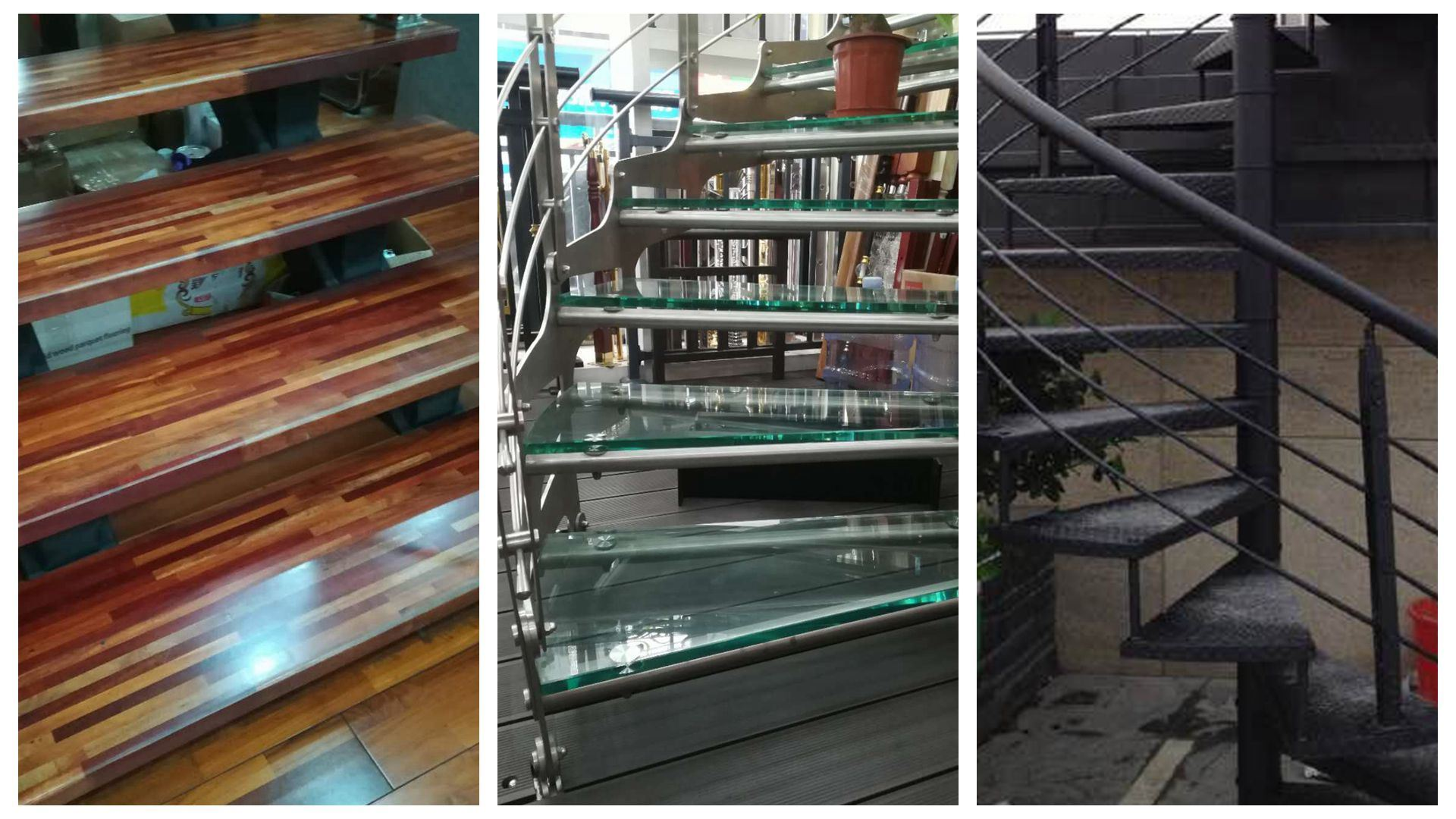 Solid Wood Staircase Tread Tempered Glass Staircase Tread Mild Steel  Staircase Tread